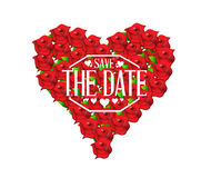 save the date heart flowers sign Stock Image