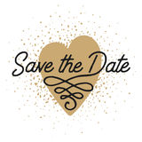 Save the Date in heart shape invite card vector template Stock Photography