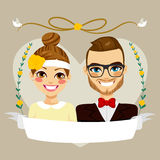 Save The Date Hipster Couple Royalty Free Stock Images