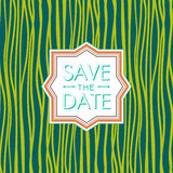 Save the date  hipster style. Wedding invitation.  trend green flash color. Royalty Free Stock Photography