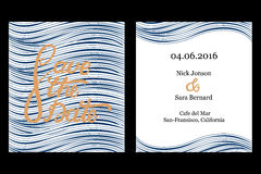 Save the date invitation card design. Stock Images