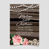 Save the Date Invitation Card with Holiday. Lights Royalty Free Stock Photos