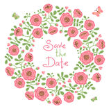Save The Date Invitation with Floral Wreath Stock Photo