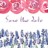 Save The Date invitation with watercolor roses. Vector watercolor floral wedding Invitation.  Stock Photo