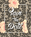 Save the Date invite card vector template with modern calligraphy Stock Photo