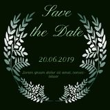 Save the date leaves design with green glitter font vector illustration
