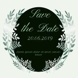Save the date leaves design stock illustration