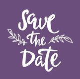 Save the date lettering illustration on white background. Save the date text calligraphy lettering for wedding or love card royalty free illustration