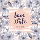 Save the date lettering wedding card. Floral frame drawing flowers Royalty Free Stock Photography