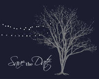 Save the date. Lights on tree vector. Save the date background. Night glowing lamps hanging on party decoration vector illustration
