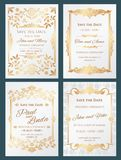 Save the date luxury vector wedding invitation cards with gold elegant border frame. Wedding banner with decoration and lettering, invitation card elegance vector illustration