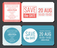 Save the date minimalist invitation ticket vector design. Wedding cards modern template Stock Images
