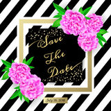 Save the date. Modern invitation card with flowers Royalty Free Stock Images