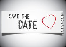 Save the Date note. On a ripped paper stock illustration