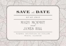 Save the Date. With ornaments of leaves Stock Photo