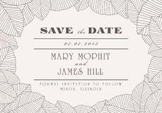 Save the Date. With ornaments of leaves Royalty Free Stock Image
