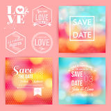Save the date for personal holiday. Save the date for personal holiday cards. Wedding invitation set of typography design labels. Vector image Stock Photo