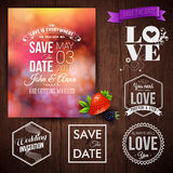 Save the date for personal holiday cards. Wedding invitation set Royalty Free Stock Photo