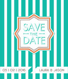 Save the date for personal holiday. Green, mint stripes, trendy modern style. Wedding invitation. Vector image Royalty Free Stock Images