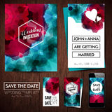 Save the date for personal holiday. Set of wedding invitation ca Royalty Free Stock Photo