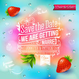 Save the date for personal holiday. Wedding invitation on blurry Stock Photography