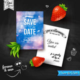 Save the date for personal holiday. Wedding invitation on chalkb Stock Photography