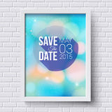 Save the date for personal holiday. Wedding invitation. White fr Royalty Free Stock Photo