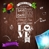 Save the date for personal holiday. Wedding invitation on wooden background. Vector image Stock Photos
