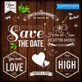Save the date for personal holiday. Wedding set on wooden backgr Royalty Free Stock Photography