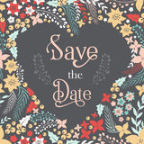 Save the date phrase on heart frame Stock Images