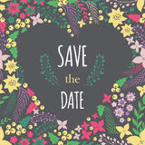 Save the date phrase on heart frame Royalty Free Stock Images