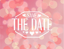 Save the date pink bokeh background sign Royalty Free Stock Photo