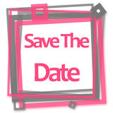 Save The Date Pink Grey Frame. Save the date text written over pink grey background Stock Photography