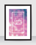 Save the date poster template pink blur background on white paper black frame gray wall. Wedding banner purple glitter backdrop square layout. Marriage Royalty Free Stock Image