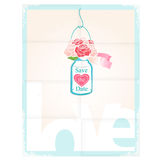 Save The Date. Pretty vector card design depicting Love with the message Save The Date on a hanging glass jar of pink roses with a heart decoration over a Royalty Free Stock Photos