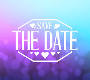 Save the date purple and blue bokeh background Stock Photo
