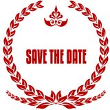 SAVE THE DATE red laurels badge. Royalty Free Stock Images