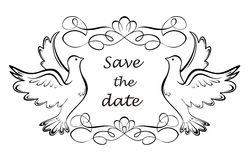Save the date. Retro frame with doves Royalty Free Stock Images