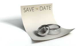 Save The Date Rings And Note Stock Photo
