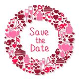 Save the Date romantic circular symbol Stock Images