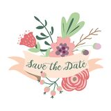 Save the date romantic inscription ribbons cute hand drawn flowers invitation vector. Save the date romantic inscription on pastel ribbons decorated cute hand royalty free illustration