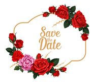 Save the Date rose flower wedding invitation card. Save the Date rose flower card for wedding invitation design. Floral frame of rose flower with red and pink Stock Photo