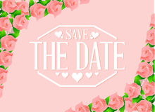 save the date roses border background sign Royalty Free Stock Photos