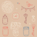 Save the date. Set of cute vector wedding elements Royalty Free Stock Photo