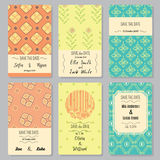 Save the date. Set of perfect card templates with cute hand-drawn elements Royalty Free Illustration