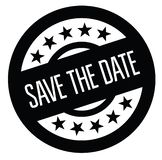 Save the date stamp on white. Save the date black stamp on white background. Sign, label, sticker stock illustration