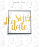Save the date stylish sketch background with frame, calligraphy, marshmallows Royalty Free Stock Photos