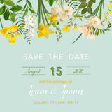 Save the Date Summer and Spring Floral Card in Watercolor Style. Vintage Field Flowers. Save the Date Summer and Spring Floral Card in Watercolor Style. Vector Stock Photography