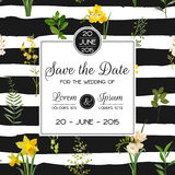 Save the Date Summer and Spring Floral Card in Watercolor Style. Vintage Field Flowers. Save the Date Summer and Spring Floral Card in Watercolor Style. Vector Royalty Free Stock Photos