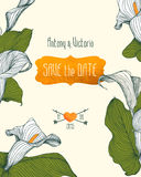 Save the date template with calla flowers. Stock Photo